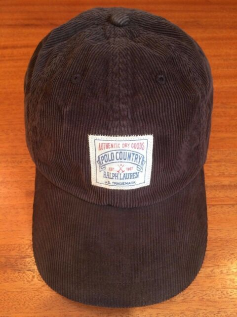 NWT POLO RALPH LAUREN COUNTRY OUTDOOR 6 PANEL PATCH CAP BROWN CORDUROY HAT 6ea36be48af
