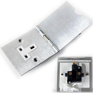 Brushed Steel Single Floor Plug Socket Outlet 1 Gang Uk