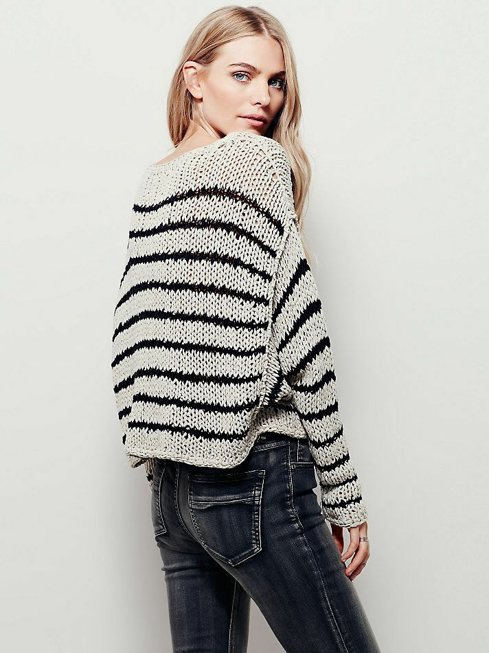 NWT 128 Free People Over and Easy Stripe Stripe Stripe Sweater--Size L 6cd7b1