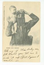 Egyptian Woman in Burka w Baby—Antique Cairo Caire CPA Egypt 1905