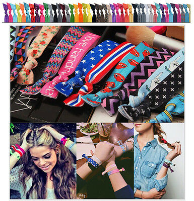 10 Pcs Hot Colorful Pattern Colorful No Crease Hair Ties Ponytail Bracelets Rope