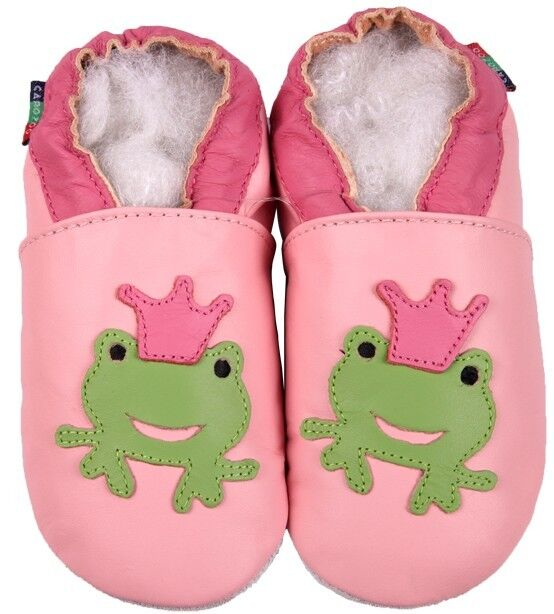 shoeszoo frog pink 0-6m S soft sole leather baby shoes