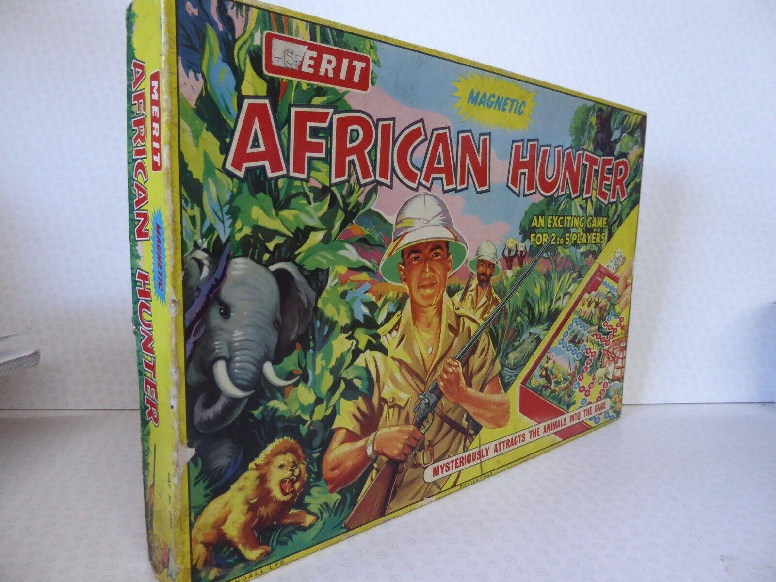 Vintage African Hunter magnétique jeu de plateau-mérite années 1950 ANGLETERRE