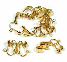 24 Gold Plated Clip on Earring Findings Standard Half Ball with Easy Open Loop
