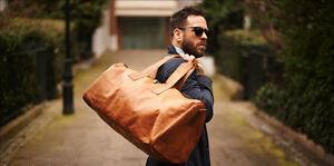 Men-039-s-genuine-Leather-large-vintage-duffle-travel-gym-weekend-overnight-bag-23-034