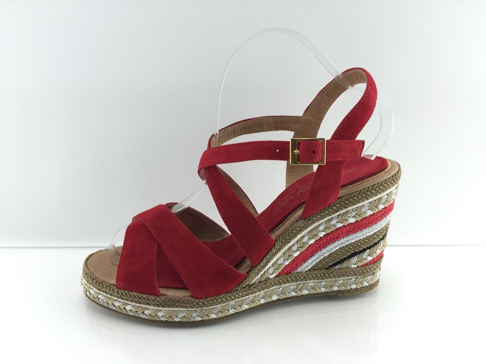 210 Andre Assous Dafina Wouomo rosso Suede Wedges 7.5