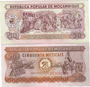 P 125   LOT 2 PCS  Uncirculated Banknotes MOZAMBIQUE 50  METICAIS  1980