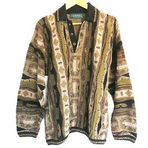 Vintage-1990-039-s-Herren-Tundra-Canada-COOGI-Style-Sweater-Kragen-Groesse-L