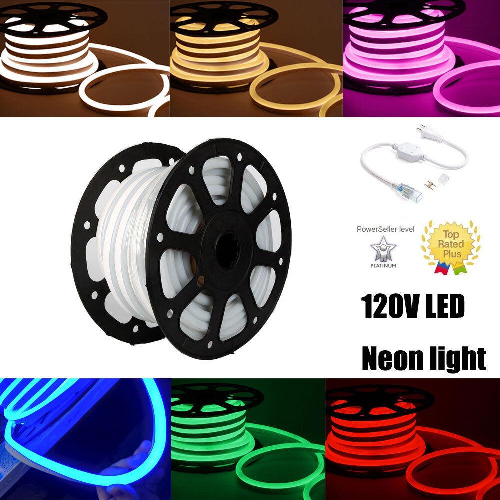 110V 1m - 100m LED Neon Rope Lights Flexible Sign Valentine Party Bar Garden DIY
