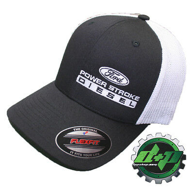 Ford POWERSTROKE truck diesel flexfit hat ball cap fitted flex fit L//XL Gray