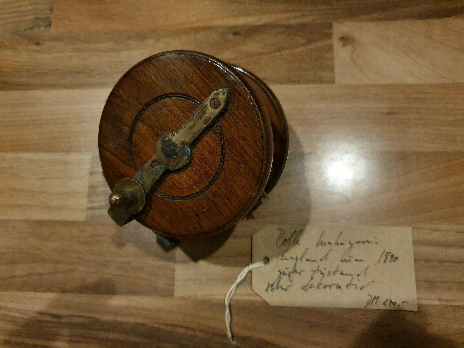 Sehr alte Holz Angelrolle Mahagoni um 1890 England