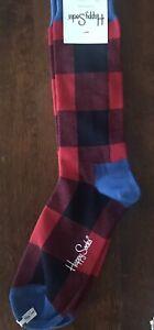 HAPPY SOCKS Red & Black Buffalo Check Plaid  Socks Dress Casual* Sz 10-13 *NWT