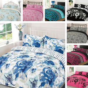 Duvet-Cover-Bedding-Set-Single-Double-King-Super-Size-Pink-Blue-Black-White-Grey