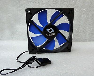 Raidmax 120mm x 25mm Quiet Fan Blue//Black 3 Pin 4 Pin Molex w// Speed Control