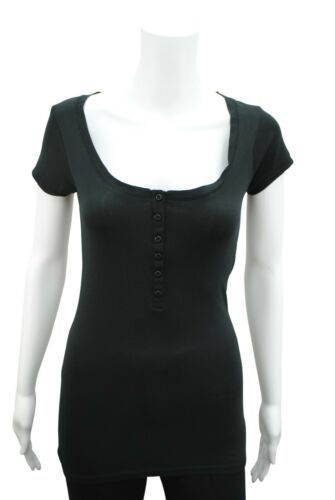 Womens Short Sleeve Button T-Shirt Top Ribbed Cotton Size 8 Black PC