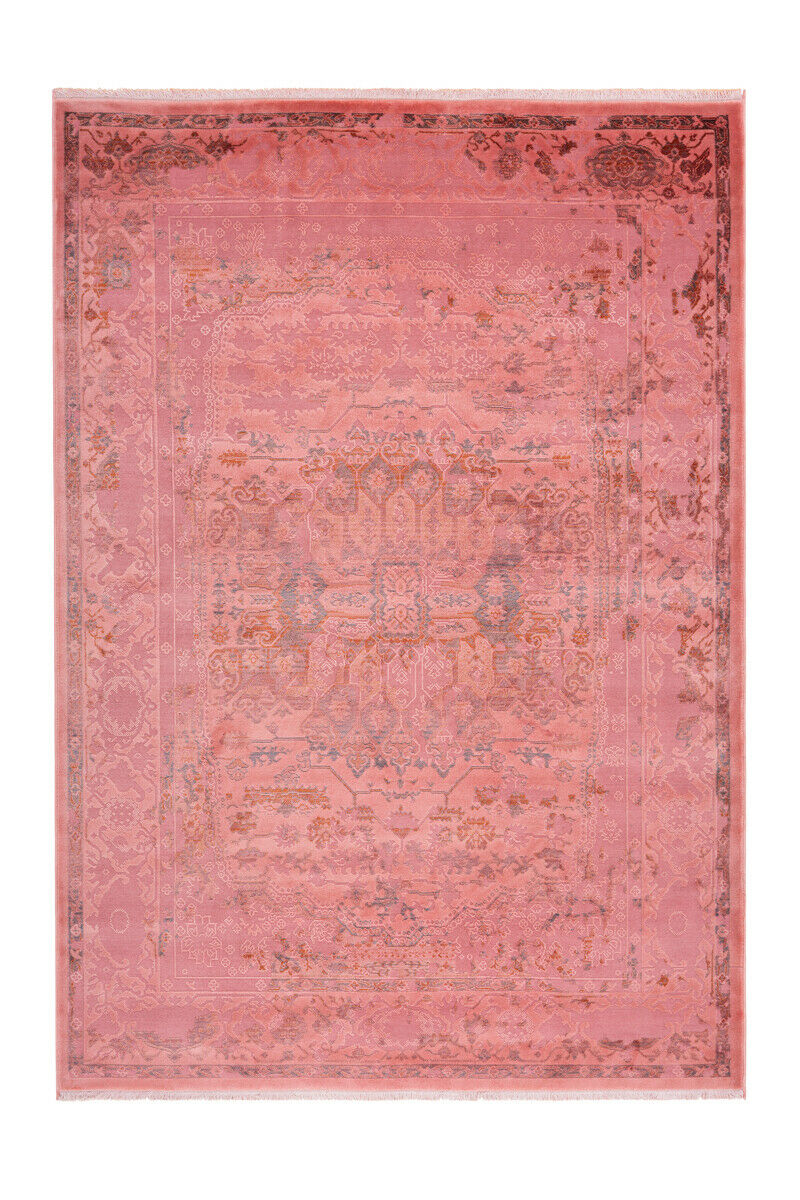 Vintage Tapis Oriental Ornament aspect Use franges Salon Rouge 200x290cm