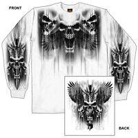 Skull Dagger T-shirt Long Sleeve Motorcycle Chopper Sport Bike Biker White L/s