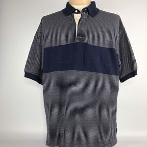 Tommy-Hilfiger-Spellout-Polo-Shirt-Mens-XL-Blue-White-Striped-Short-Sleeve