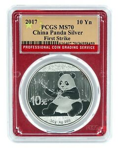 2017-China-10-Yuan-Silver-Panda-PCGS-MS70-First-Strike-Red-Frame-Flag-Label