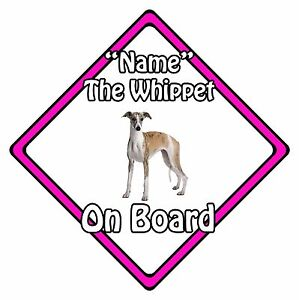 Personalised-Dog-On-Board-Car-Safety-Sign-Whippet-On-Board-Pink