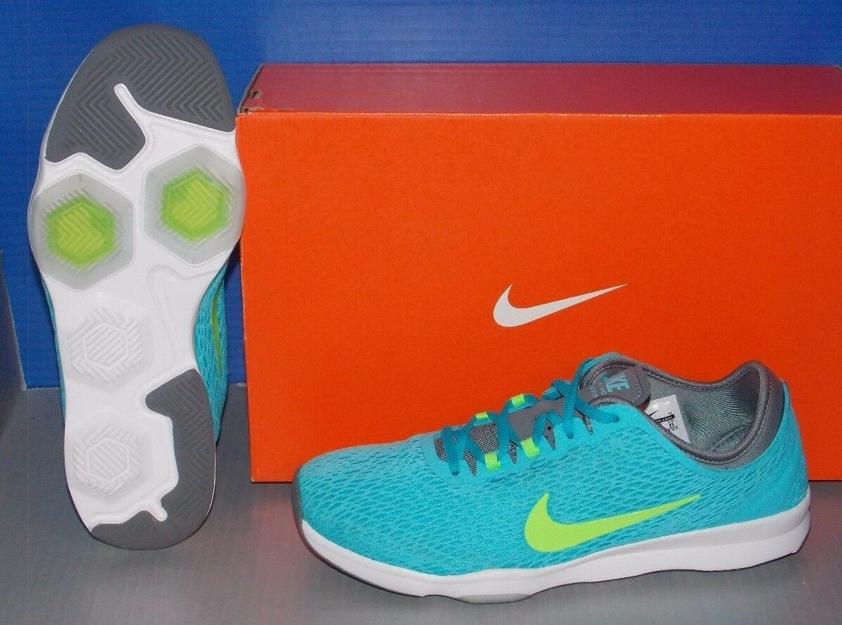 WMNS NIKE ZOOM FIT in colors CLEARWATER     LIME   GREY   WHITE SIZE 8 a2a39d