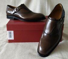 Salvatore Ferragamo TRAMEZZA Celso Leather Monk Strap Brown Loafer 8 EE