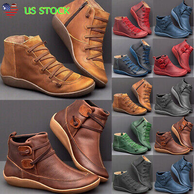Women Arch Support Ankle Boots Lace Up Round Toe Booties Leather Flat Heel Shoes