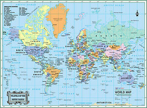 image is loading world wall map political poster 22 034 x17