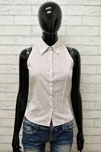 Camicia-ZARA-Donna-Taglia-Size-M-Maglia-Blusa-Shirt-Woman-Cotone-Bianco-a-Quadri