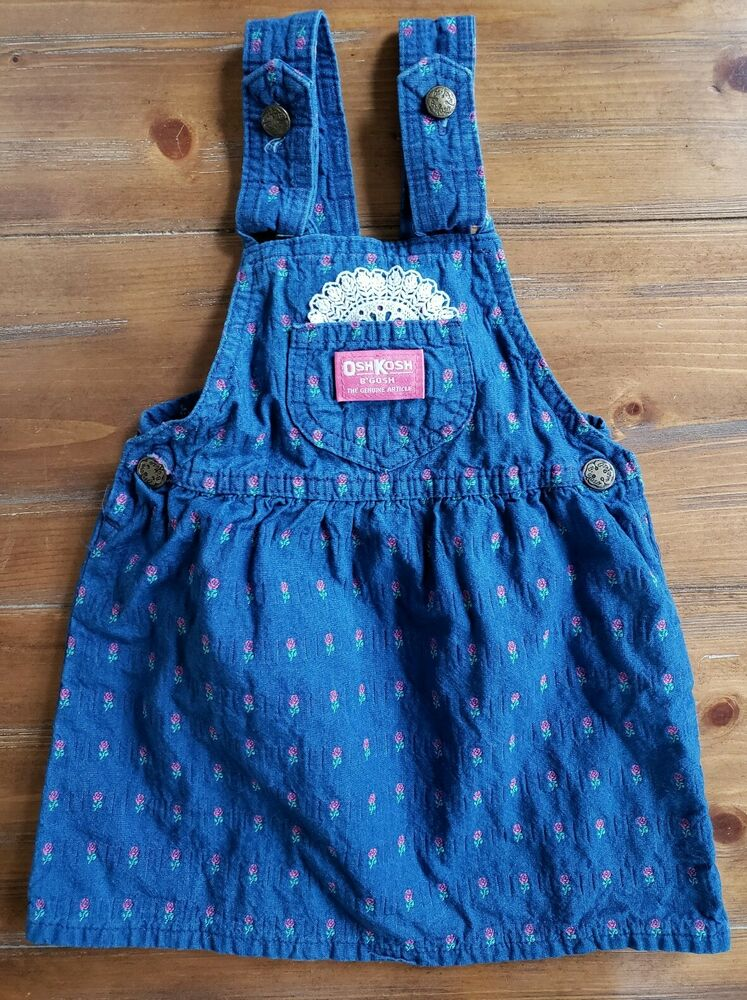 Vintage Oshkosh B'Gosh Vestbak Denim Rose Print Jumper Girls 4T Union Made USA