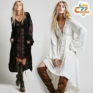 a2742e7d7e Details about Vintage 70s hippie Floral Embroidery Deep V neck angel sleeve  BOHO ethnic DRESS