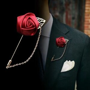 8be43465d58 Stylish Lapel Pin Rose Flower Brooch Wedding Party Corsage Men Suit ...