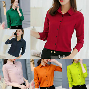 Women-Spring-Fall-Long-Sleeve-V-neck-T-Shirt-OL-Ladies-Loose-Casual-Tops-Blouse