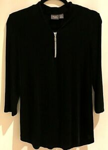 Travelers-by-Chicos-Black1-4-Zip-Front-Tunic-Top-3-4-Sleeve-Size-0