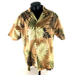 Islands Hawaii Laua Casual Button Down Shirt 2XL Poly/Cotton Fern Leave USA