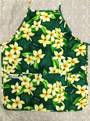 New Hawaiian Print Canvas Apron with 3 Pockets Plumeria Flowers