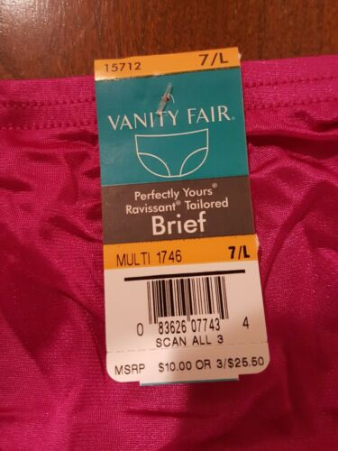 NEW VANITY FAIR RAVISSANT NYLON BRIEFS  15712 SIZE 7 L  SINBERRY BRIGHT PINK
