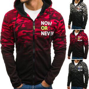 Herren Kapuzenpullover Sweatshirt Hoodie Sweatjacke Pullover Camo BOLF 1A1 Motiv