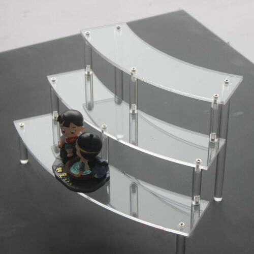 Acrylic Display Stand Three Layers Removable Curve Shelf Stands Storage Rack New