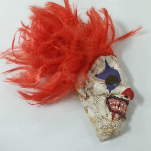 Scary-Clown-Mask-Wide-Devil-Red-Hair-Evil-Adult-Creepy-Halloween-Costume-NEW