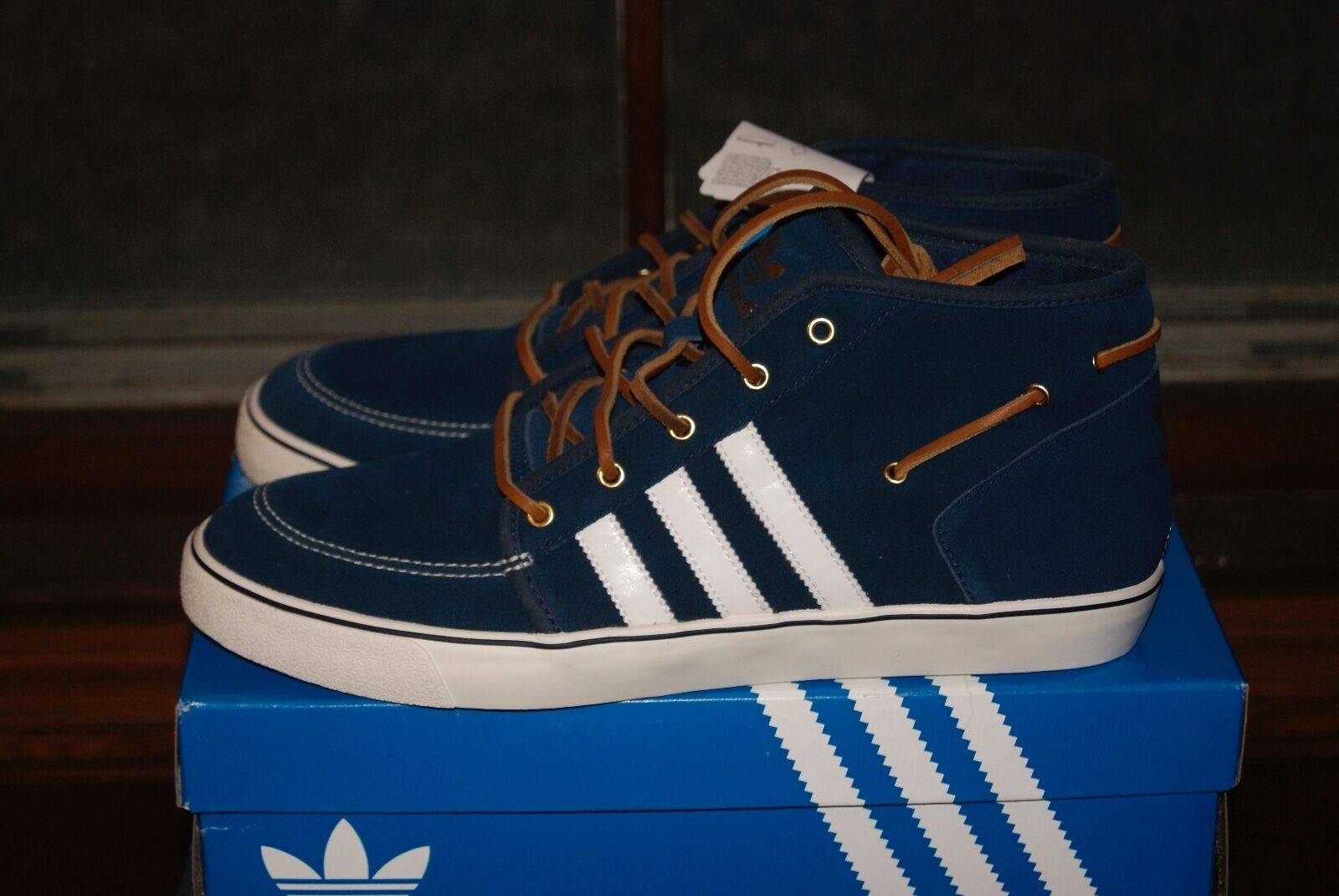 Mens Adidas Court Deck Vulc Mid bluee White Sz 7 or 11.5 or 12 or 13