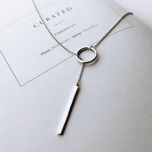 Echte 925 Sterling Silber Lange Kreis Halskette Anhänger Frauen Damenschmuck Neu