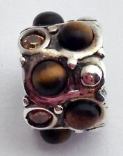 Authentic Chamilia Brown Cabochon Sterling Silver Retired Bead Charm, Jb51a, New