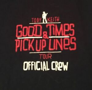 TOBY-KEITH-GOOD-TIMES-2015-TOUR-OFFICIAL-CREW-MED-BLACK-T-SHIRT-SHIPS-FREE