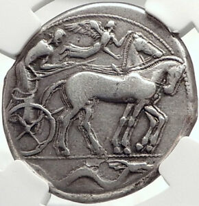 SYRACUSE-Sicily-2nd-Democracy-450BC-RARE-R1-Silver-Tetradrachm-Coin-NGC-i68726