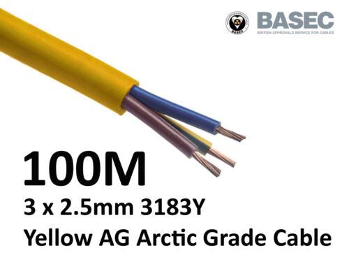 100M Arctic Yellow 3183Y Flex Cable 3core x 2.5mm Outdoor Construction Artic
