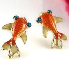 Cute enamel crystal goldfish charm stud earrings gold fish blue eye