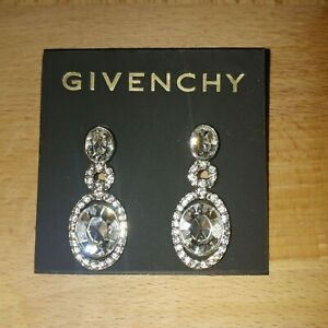 3a49286f8bf7a Details about Vintage Givenchy silver tone Crystal Oval drop earrings new  with damaged tag