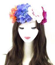 Large Orange Violet Peony Rose Flower Headband Halloween Hair Crown Big Boho 656
