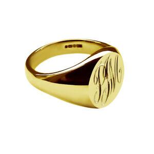 18-Ct-Oro-Amarillo-Solido-Damas-Oval-Pinky-Signet-Anillos-su-monograma-9x7mm-Reino-Unido-HM